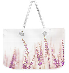 Weekender Tote Bag featuring the photograph Lavender Flower In The Garden,park,backyard,meadow Blossom In Th by Jingjits Photography