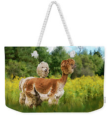 Weekender Tote Bag featuring the photograph 2 Little Llamas by Mary Timman