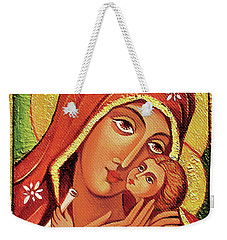 Weekender Tote Bag featuring the painting Madonna And Child by Eva Campbell