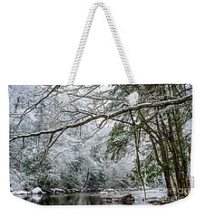 Weekender Tote Bag featuring the photograph March Snow Along Cranberry River by Thomas R Fletcher