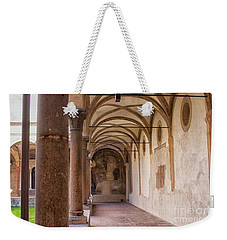 Weekender Tote Bag featuring the photograph Medieval Hallway Of Italian Cloister by Patricia Hofmeester