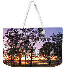 Misty Rural Scene With Dam And Trees Weekender Tote Bag