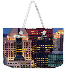 Weekender Tote Bag featuring the photograph Moon Over Pittsburgh 2 by Emmanuel Panagiotakis