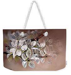 Weekender Tote Bag featuring the painting Oriental Pear Blossom by Bonnie Willis
