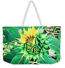 Weekender Tote Bag featuring the photograph Peeping Sunflower by Angela Annas
