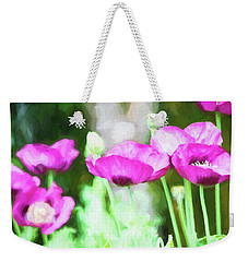 Weekender Tote Bag featuring the painting Poppies by Bonnie Bruno