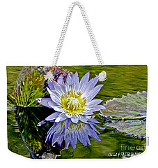 Purple Water Lily Pond Flower Wall Decor Weekender Tote Bag