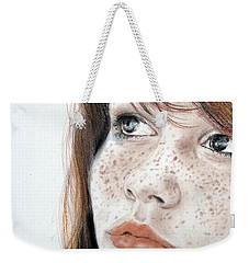 Red Hair And Freckled Beauty Weekender Tote Bag