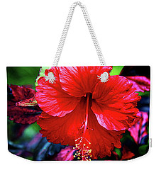 Red Hibiscus 2 Weekender Tote Bag by Inspirational Photo Creations Audrey Woods