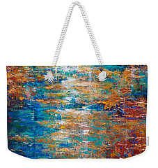 Weekender Tote Bag featuring the painting Reflections Dancing On Water by Linda Olsen