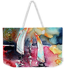 Weekender Tote Bag featuring the painting Sailboats by Kovacs Anna Brigitta