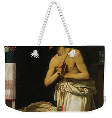 Weekender Tote Bag featuring the painting Saint Dominic In Penitence by Filippo Tarchiani