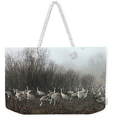 Sandhill Cranes And The Fog Weekender Tote Bag