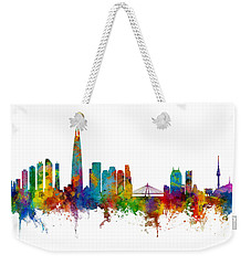 Weekender Tote Bag featuring the photograph Seoul Skyline South Korea by Michael Tompsett