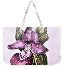 Weekender Tote Bag featuring the painting Slipper Foot Orchid by Mindy Newman
