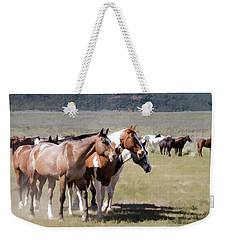 Weekender Tote Bag featuring the digital art Sombrero Ranch Horse Drive, An Annual Event In Maybell, Colorado by Nadja Rider