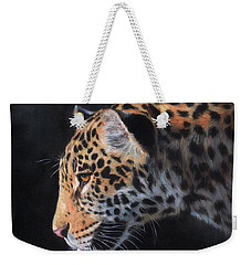 Weekender Tote Bag featuring the painting South American Jaguar by David Stribbling