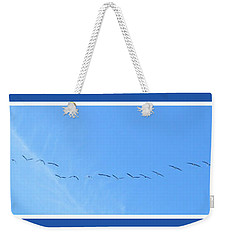 String Of Birds In Blue Weekender Tote Bag