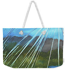 Weekender Tote Bag featuring the mixed media Sunshine Over Boise by Angela Stout
