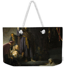 Weekender Tote Bag featuring the painting The Raising Of Lazarus by Rembrandt