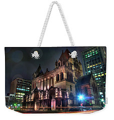 Weekender Tote Bag featuring the photograph Trinity Church - Copley Square Boston by Joann Vitali
