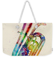 Tuba Abstract Watercolor Weekender Tote Bag