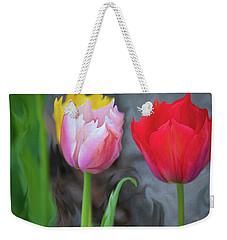 Weekender Tote Bag featuring the digital art Tulips by Cristina Stefan