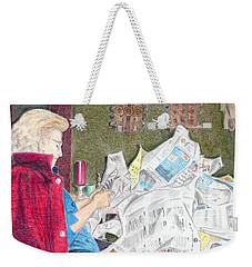 Weekender Tote Bag featuring the drawing Unwrap by Yoshiko Mishina