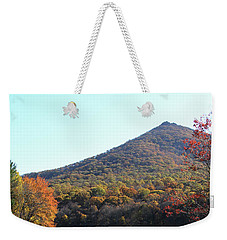 Weekender Tote Bag featuring the photograph View Of Abbott Lake And Sharp Top In Autumn by Emanuel Tanjala