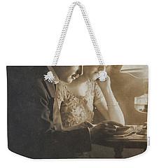 Vintage Loving Couple Reading With Oil Lamp Weekender Tote Bag