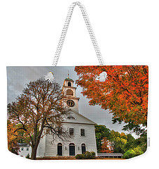 Weekender Tote Bag featuring the photograph White Church In Autumn by Joann Vitali