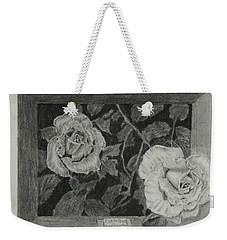 2 White Roses Weekender Tote Bag by Quwatha Valentine