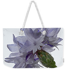 White With Blue Cornflower Weekender Tote Bag