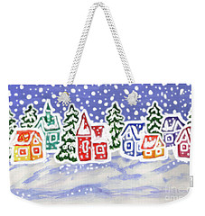 Winter Landscape With Multicolor Houses, Painting Weekender Tote Bag