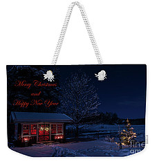 Weekender Tote Bag featuring the photograph Winter Night Greetings In English by Torbjorn Swenelius