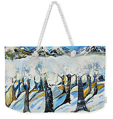 Weekender Tote Bag featuring the painting Winterland by Evelina Popilian