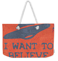 X Files I Want To Believe Weekender Tote Bag by Kyle West