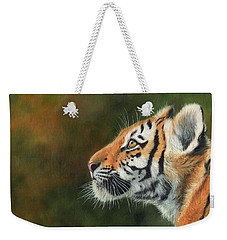 Weekender Tote Bag featuring the painting Young Amur Tiger  by David Stribbling