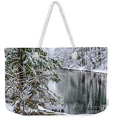 Weekender Tote Bag featuring the photograph Winter Along Cranberry River by Thomas R Fletcher