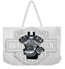 Weekender Tote Bag featuring the digital art 2002 Harley-davidson Revolution Engine With 3d Badge  by Serge Averbukh