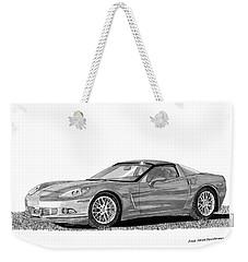 Weekender Tote Bag featuring the painting  Corvette Roadster, Silver Ghost by Jack Pumphrey