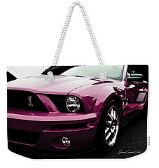 Weekender Tote Bag featuring the photograph 2010 Pink Ford Cobra Mustang Gt 500 by Joann Copeland-Paul
