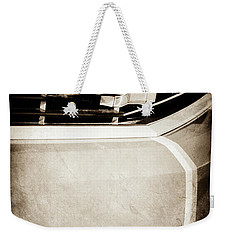 Weekender Tote Bag featuring the photograph 2011 Chevrolet Camaro Grille Emblem -0321s by Jill Reger