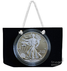 Weekender Tote Bag featuring the photograph 2013 Enhanced Uncirculated Silver Eagle Dollar Coin by Randy Steele