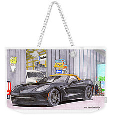 Weekender Tote Bag featuring the painting 2014 Corvette And Man Cave Garage by Jack Pumphrey