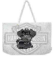 Weekender Tote Bag featuring the digital art 2015 Harley-davidson Street-xg750 Engine With 3d Badge  by Serge Averbukh