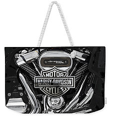 Weekender Tote Bag featuring the digital art 2017 Harley-davidson Screamin' Eagle Milwaukee-eight 114 Engine With 3d Badge by Serge Averbukh