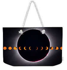 Weekender Tote Bag featuring the photograph 2017 Total Eclipse And Moon Path by Mark Dodd
