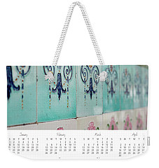 Weekender Tote Bag featuring the photograph 2017 Wall Calendar Blue Ceramic Tiles by Ivy Ho