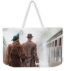1940's Couple On A Railway Platform With Steam Train  Weekender Tote Bag